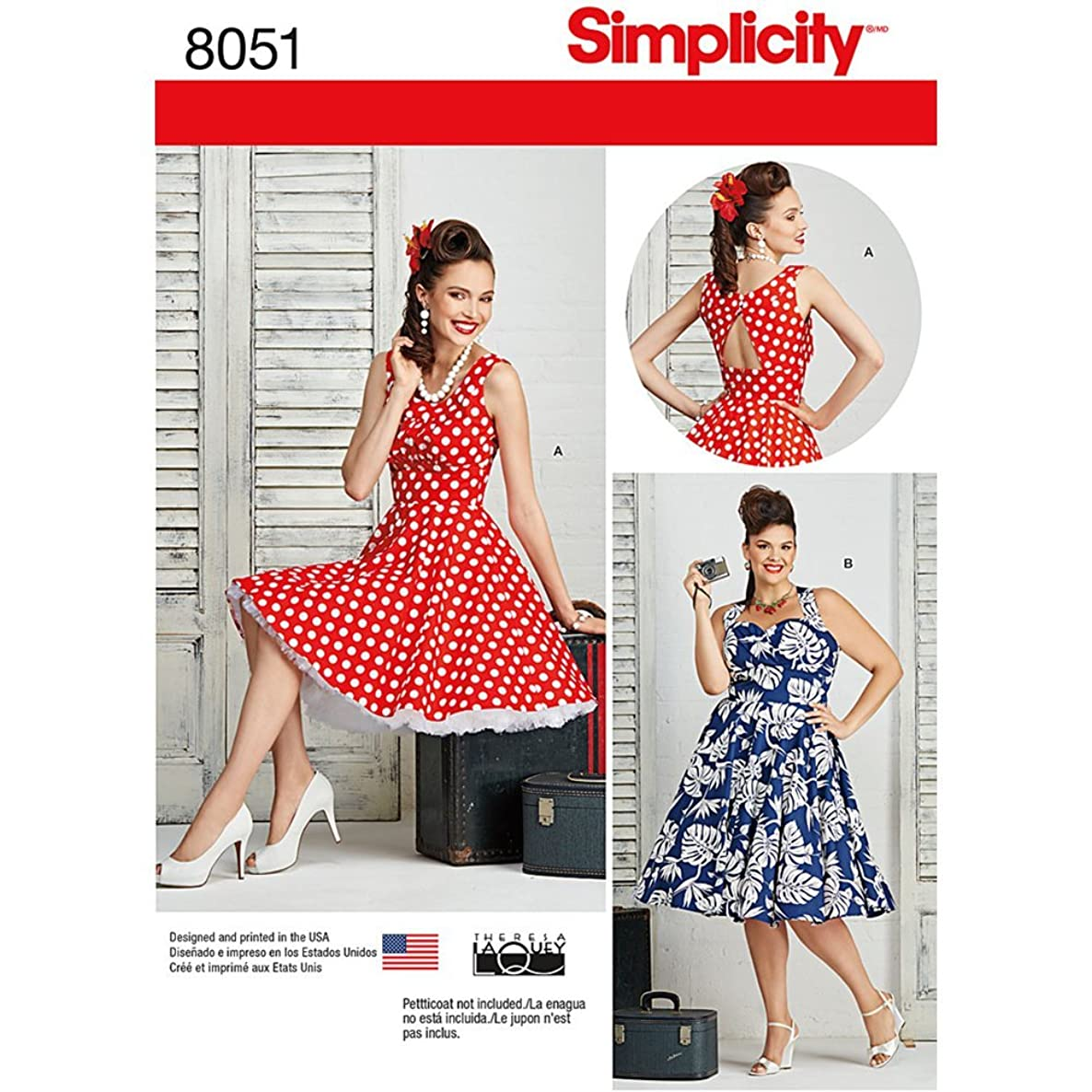 Simplicity 8051 1950's Vintage Fashion Women's Pin Up Dress Sewing Pattern by Theresa Laquey, Sizes 20W-28W