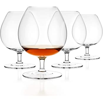 Luxbe - Brandy & Cognac Crystal Glasses Snifter, Set of 4 - Large Handcrafted - 100% Lead-Free Crystal Glass - Great for Spirits Drinks - Bourbon - Wine - 25.5-ounce