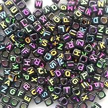 Amaonm 500pcs Mixed Black Colorful DIY Square Acrylic Plastic Letter/Alphabet Letter