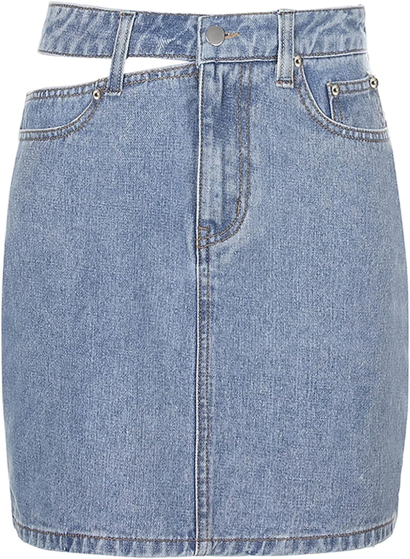 Freebily Y2k Washed Denim Skirt Womens Casual Irregular Cut Out High Waisted Jeans Short Skirt