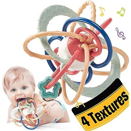 CubicFun Mordedor Bebe Sonajeros Bebe Pelota Entrenamiento Sensorial Juguetes para Bebes de 0 3 6 9 Meses a 1 año, sin BPA Mordedor con Sonajero Pelota Sensorial
