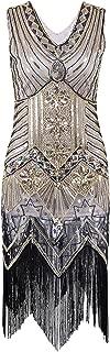 Women's 1920s Inspired Diamond Sequined Deco Fringe Flapper Dress