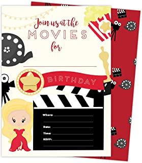 Movies 1 Happy Birthday Invitations Invite Cards (25 Count) With Envelopes and Seal Stickers Vinyl Girls Boys Kids Party (25ct)