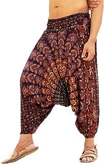 Mens Womens Rayon Mandala Pockets Harem Pants Yoga Drop Crotch Trouser