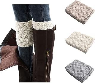 3 Pairs Womens Short Boots Socks Crochet Knitted Boot Cuffs Leg Warmers Socks