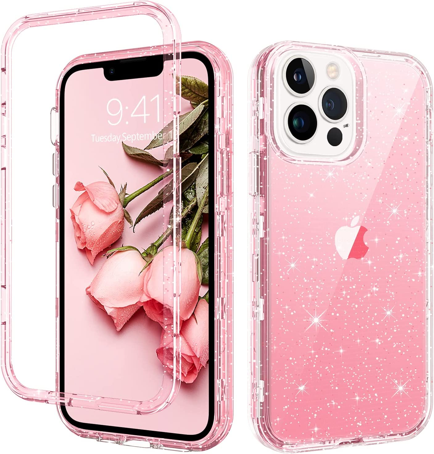 GUAGUA Compatible with iPhone 13 Pro Max Case Pink Glitter Bling Crystal Clear Cover for Girls Women Three Layer Hybrid Hard PC Soft TPU Bumper Shockproof Protective Phone Case for iPhone 13 Pro Max