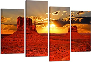 Kreative Arts - Beautiful Sunrise Over Iconic Monument Valley Arizona USA 4 Panel Canvas Prints Wall Art Modern Wall Decor Landscape Picture Stretched Canvas Giclee Print Ready to Hang