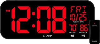 SHARP Large Oversized Screen LED Clock with Indoor and Outdoor Temperature with Outdoor Sensor, with Date and Day of Week – 14 inch Clock with 4 inch Digits