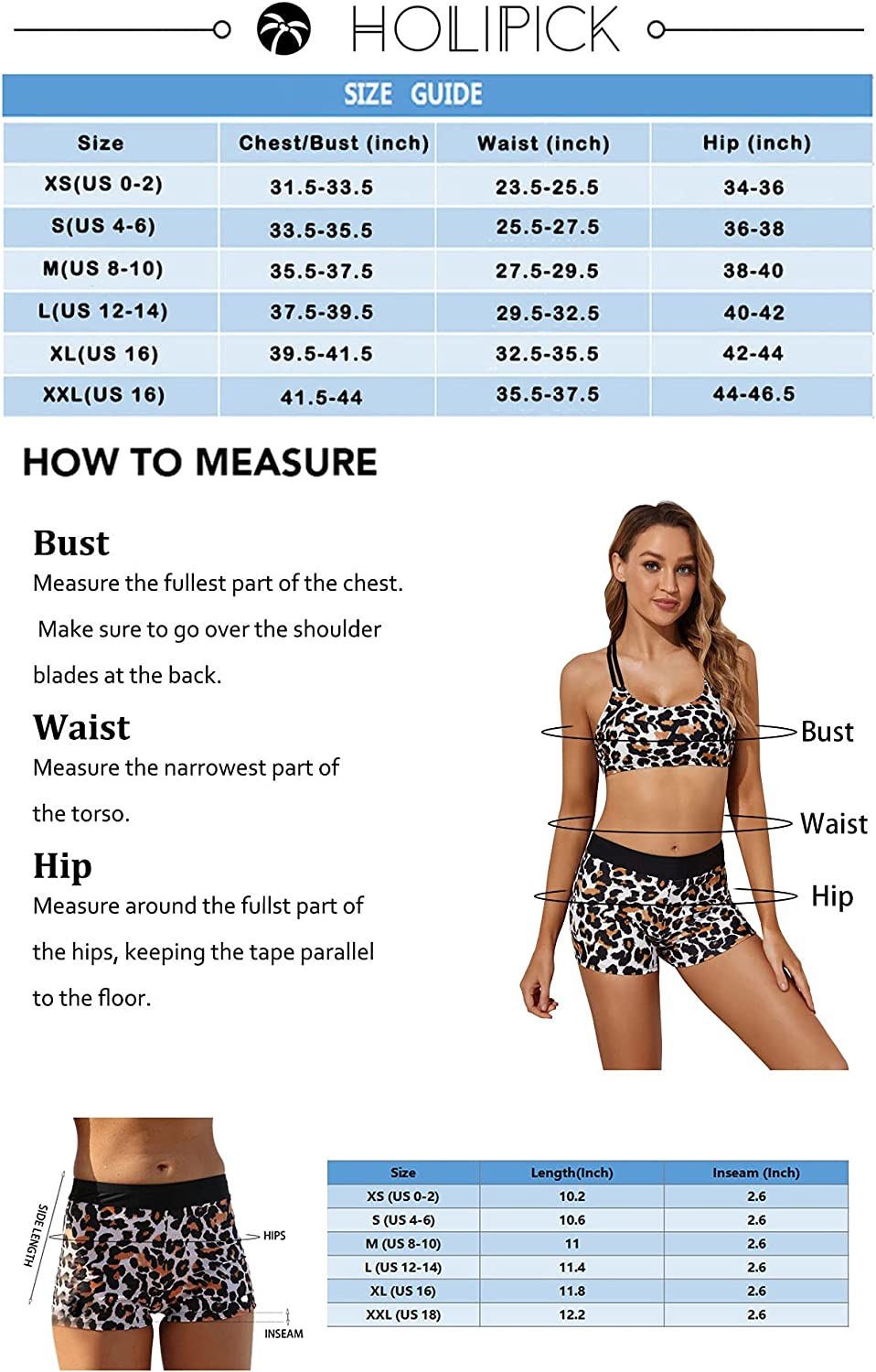 Holipick 3 Piece Tankini Swimsuits for Women Modest Tankini Top Swim Tank Top with Bra and Athletic Boy Shorts Bathing Suits