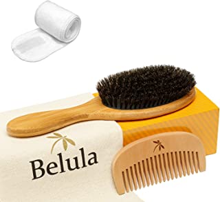 100% Boar Bristle Hair Brush Set. Soft Natural Bristles for Thin and Fine Hair. Restore Shine And Texture. Wooden Comb, Travel Bag and Spa Headband Included!