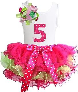 Kirei Sui Girls Ruffled Tutu & 1st - 6th Birthday Tee 2pcs Dress Outfit