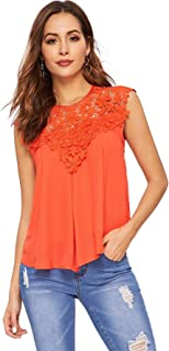 Women's Lace Neckline Sleeveless Chiffon Blouse Top