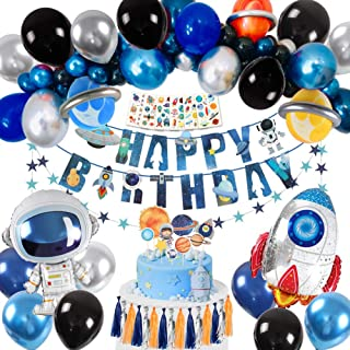 Golray Space Party Supplies, Solar System Birthday Party Supplies Decoration 35 Balloons, Happy Birthday Banner, Cake Topper, Tattoo, Outer Space Party Supplies for Boys Kids Astronaut Birthday