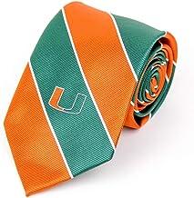 NCAA Miami Hurricanes Mens Miami Hurricanes Striped NecktieMiami Hurricanes Striped Necktie, Green, One Size