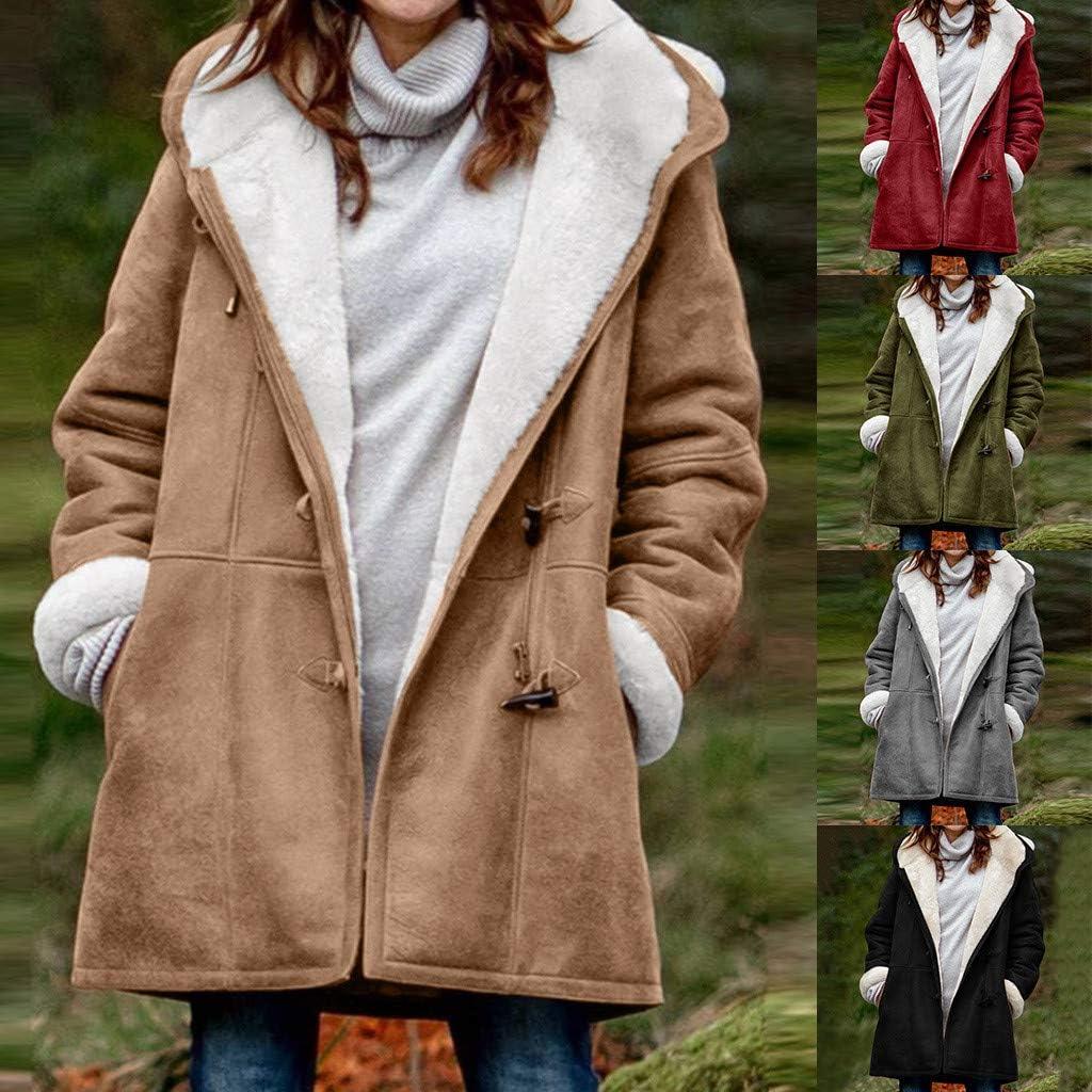 Lulupi Winterjacke Damen Winter Warm Gefüttert Jacke Parka Lang Teddyfell Mantel Oversize Fleecejacke Übergangsjacke mit Kapuze Grau