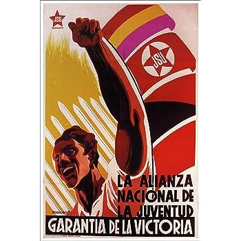 Ayuda de propaganda de guerra España civil española Miro ayuda Vintage anuncio arte enmarcado impresión