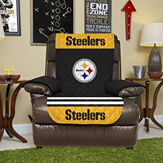 NFL Pittsburgh Steelers Recliner Reversible Furniture Protector with Elastic Straps, 80-inches by 65-inches