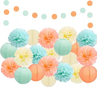 EpiqueOne Party Decoration Kit – Mint, Peach and Ivory Decorative Party Supplies Set – Reusable Party Decor – Ideal for Birthday, Baby Shower, Anniversary, Wedding, Bridal Shower