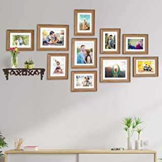 Art Street Photo Frame For Wall Set of 10 Brown Picture Frame with MDF Self For Home and Office Decoration , Free Hanging ...