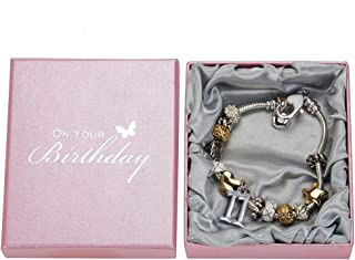 Haysom Interiors Lovely 11th Birthday Silver Plated Charm Bracelet with Hearts, Stars and Rings - Perfect 11th Birthday Gift Idea by Happy Homewares