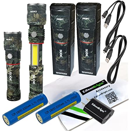 2 Pack Nebo Slyde King CAMO 500 Lumen USB rechargeable LED flashlight/Worklight 6726, rechargeable Li-ion battery with EdisonBright USB charger bundle