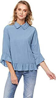 Lee Cooper Printed Pussy Bow Peplum Top for Women