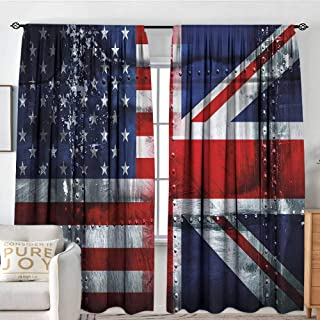 Petpany Blackout Curtains Union Jack,Alliance Togetherness Theme Composition of UK and USA Flags Vintage,Navy Blue Red White,Rod Pocket Curtain Panels for Bedroom & Kitchen 84