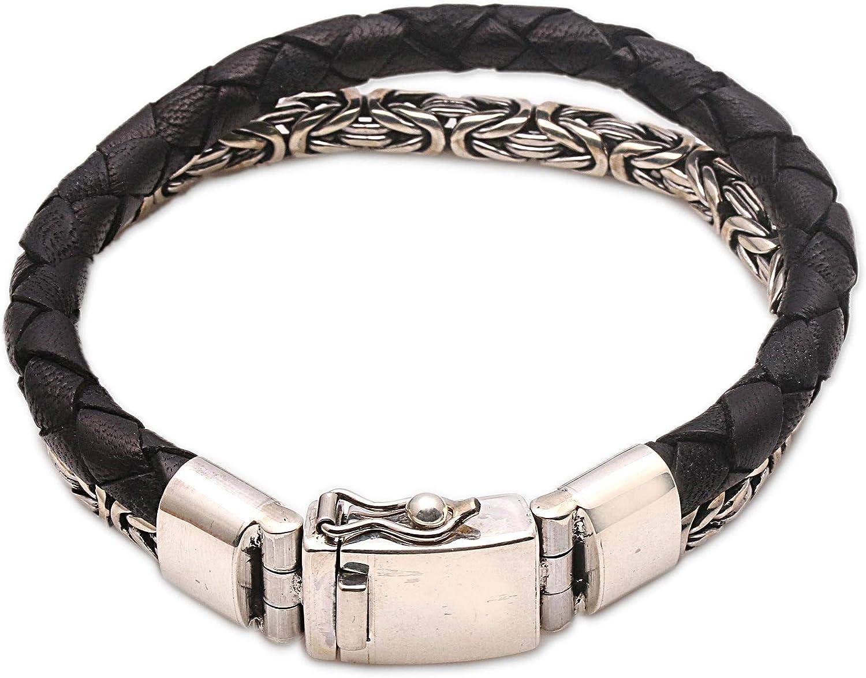 Novica Solid Bonding In Black New item Leather Wholesale Silver Sterling And Bracel