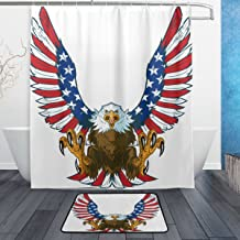 ALAZA 60X72 inch Eagle Flying with Talons Out and Spread American Flag Shower Curtain Decoration Waterproof Polyester Fabric Bathroom Non-Slip Bath Rug 23.6x15.7 inch