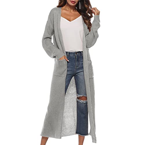703033da39c Womens Casual Long Sleeve Open Cardigan Sweater Maxi Knitted Slide Split  Dusters with Pockets S -