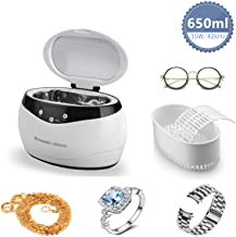 650mL Ultrasonic Cleaner, Ultra Sonic Bath Household Cleaning Tools with Basket for Jewelry Pendant Glasses Sunglasses Watch Metal Coins Stainless Steel Tank and Digital Timer UK Plug