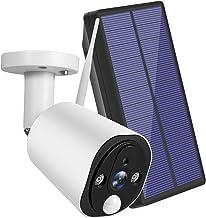 Câmera de segurança sem fio movida a energia solar, câmera de alta definição WiFi 1080P 2 vias com áudio e visão noturna C...