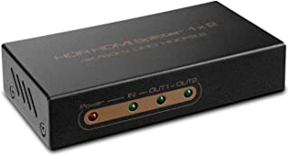 TNP HDMI Splitter 4K 1 in 2 Out - Supports 4K 60Hz, HDR, HDCP 2.2, Ultra HD UHD 4Kx2K @ 60Hz / 30Hz, Full HD 1020P, 3D, High-Speed HDMI Video Audio 1x2 Distribution Split Box