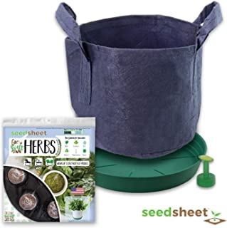 Home Garden Seeds – Seedsheet Grow Your Own Organic Gardening Pods – Eco Friendly Homemade Ingredients with Fabric Container – Partial Kit (Herbs)