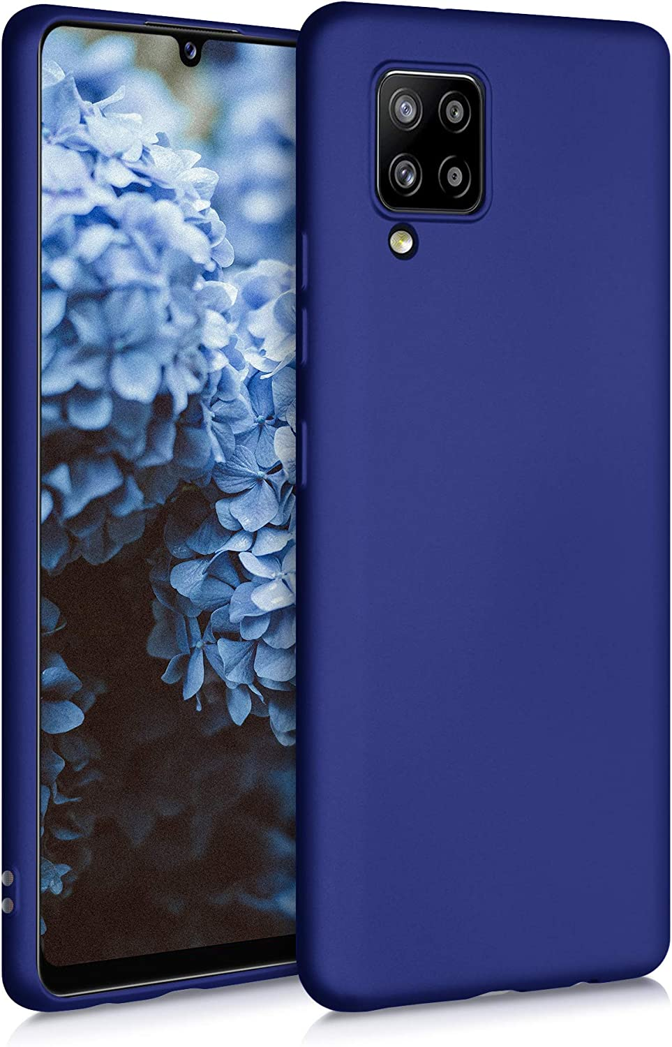 kwmobile TPU Case Compatible with Samsung Galaxy A42 5G - Case Soft Slim Smooth Flexible Protective Phone Cover - Metallic Blue