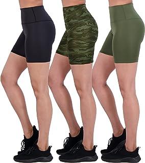 "Real Essentials 3 Pack: Womens Active High Waist Biker Shorts 6"" Inseam Workout & Yoga Tights"
