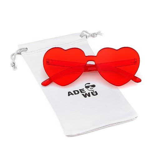 fbc5121f7a ADEWU Love Heart Sunglasses Women Girl Rimless Candy Color One Piece Eyewear