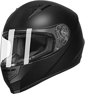 GLX Unisex-Adult GX11 Compact Lightweight Full Face Motorcycle Street Bike Helmet with Extra Tinted Visor DOT Approved (Matte Black, Small)