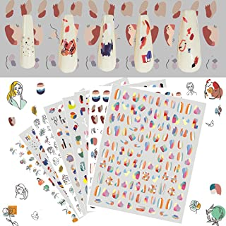 8 Sheets hit Color Graffiti self-Adhesive Nail Art Stickers Decals,Nail Stickers Contain Contrast Color, Graffiti, Rose an...