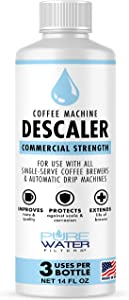 Descaler for Coffee Machines (3 Uses/Bottle) - Made in USA - Commercial Strength Descaling Solution Compatible with All Keurig K-Cup Pod Coffee Brewers and Espresso Makers