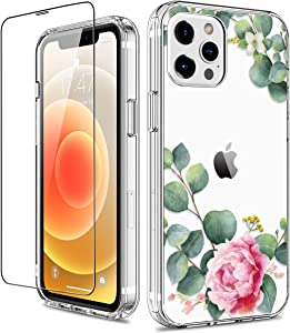GiiKa for iPhone 12 Pro Max Case with Screen Protector, Clear Full Body Shockproof Protective Floral Girls Women Hard Case with TPU Bumper Cover Phone Case for iPhone 12 Pro Max, Camellia