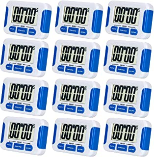 12 Pack Digital Kitchen Timer Magnetic Back and Retractable Stand Minute Second Count Up Countdown Kid Clock