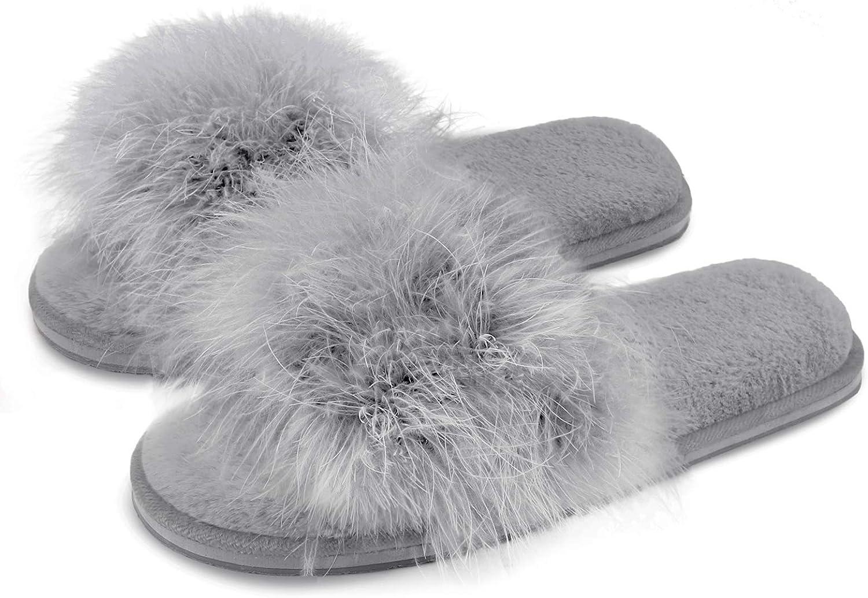 BCTEX COLL Women's Fuzzy Pom La List price sale House Feather Slippers