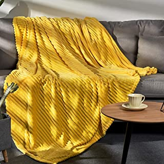 LALIFIT Flannel Fleece Throw Blankets Solid Color Super Soft Luxury Bed Blanket 60 x 80 Twin Size Warm Cozy Bedspread for Couch Sofa Spring Modern Home Halloween Christmas Decorate Etc(Yellow)