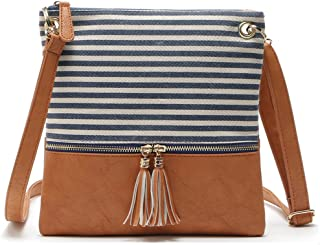 Duketea Stripe Medium Crossbody Purse, Canvas + Faux Leather Crossover Shoulder Bag