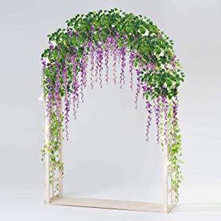 Bomarolan Wisteria Artificial Silk Vine Flowers Fake Hanging Garland for Wedding Arch Backdrop Decor 3 5/8 Feet Pack of 12 Pieces(Purple)