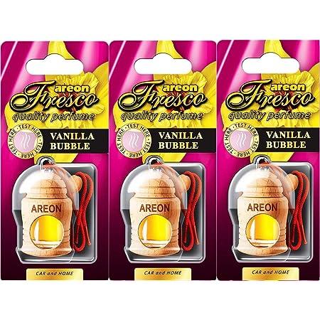 Areon Fresco Auto Vanille Bubble Gum Duft Kaugummi Rot Glas Duftflakon Set Flakon Holz Hängend Anhänger Spiegel 4ml Pack X 3 Auto
