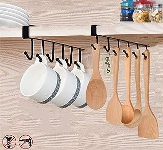 EigPluy Mug Holder 6x2 Hook Under Cabinet Mug Hooks Cups Rack Nail Free Coffee Cups Holder Kitchen Utensil Storage Holder Ties Belts Scarf Hanging Hooks Rack,Sagging Protection Accesories Include