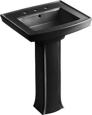 """KOHLER K-2359-8-7 Archer Pedestal Bathroom Sink with 8"""" Centers, Black Black"""