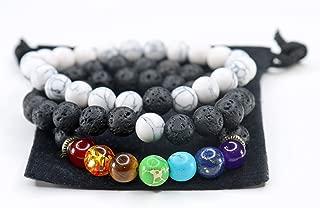 Anxiety Bracelets Chakra Bracelets Aromatherapy Bracelet Lava Rock Stone Reiki Meditation Healing Bead Bracelets Real Stones Yoga Beads Essential Oil for Women Kids Men